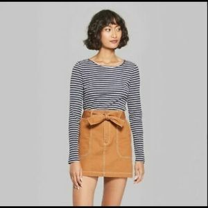 wild fable Striped Long Sleeve Crewneck Skater Tee
